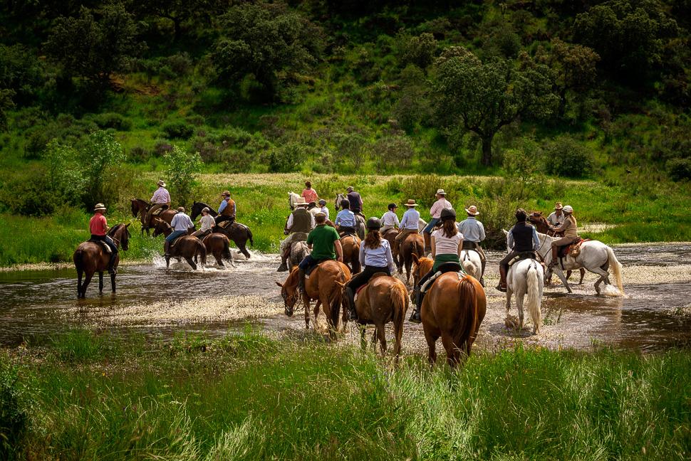 Reitergruppe durchquert den Rio Almonte